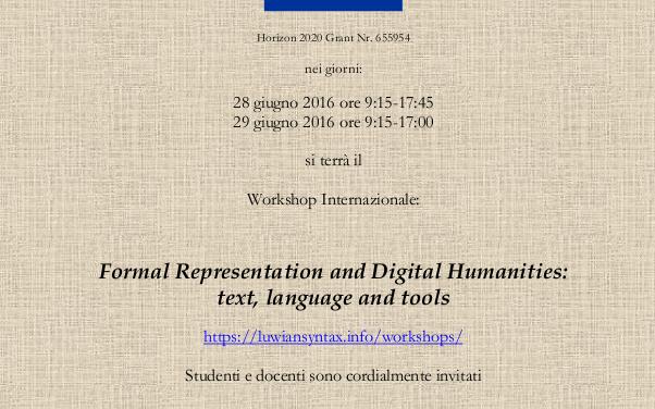 "Workshop: ""Formal Representation and Digital Humanities"""